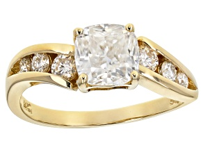 Moissanite 14k yellow gold ring 1.68ctw DEW.