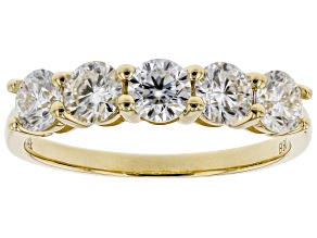 Moissanite 14k yellow gold ring 1.15ctw DEW.