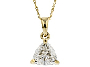 Moissanite 14k yellow gold pendant 1.00ct DEW