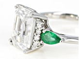 Moissanite and Zambian emerald 14k white gold ring 3.63ctw DEW