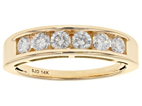 Moissanite 14k Yellow Gold Ring .60ctw D.E.W