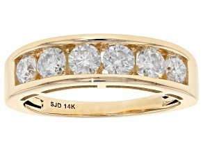 Moissanite 14k Yellow Gold Ring .96ctw D.E.W