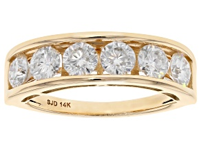 Moissanite 14k Yellow Gold Ring 1.38ctw D.E.W