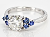 Moissanite And Blue Sapphire 14k White Gold Ring    1.50ct DEW.