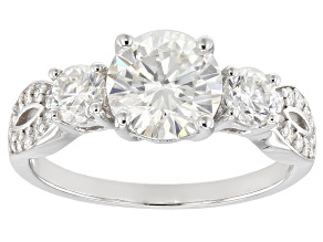 Moissanite 14k White Gold Ring 2.16ctw DEW.