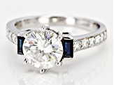 Moissanite And Blue Sapphire 14k White Gold Ring   2.18ctw DEW.