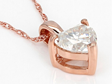 Moissanite 14k rose gold pendant .60ct DEW