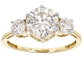 Moissanite 14k Yellow Gold Ring 2.36ctw DEW.