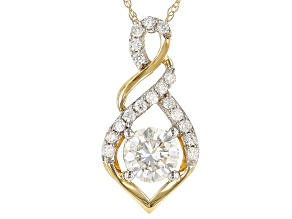 Moissanite 14k Yellow Gold Pendant .78ctw DEW