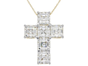 Moissanite 14k Yellow Gold Cross Pendant 9.00ct DEW.