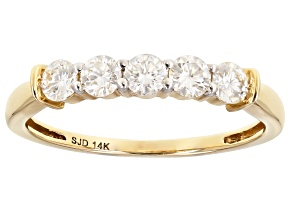 Moissanite 14k Yellow Gold Ring .50ctw D.E.W