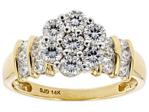 Moissanite 14k Yellow Gold Ring 1.06ctw D.E.W