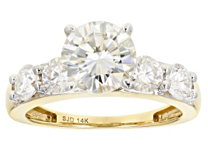 Moissanite 14k Yellow Gold Ring 2.82ctw D.E.W