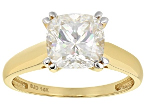 Moissanite 14k Yellow Gold Ring 2.40ct D.E.W