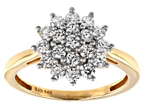 Moissanite 14k Yellow Gold Ring .76ctw D.E.W
