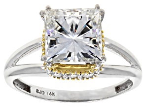 Moissanite 14k white and yellow gold two tone ring 3.46ctw DEW.