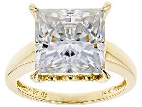 Moissanite 14k Yellow Gold Ring 6.92ct DEW