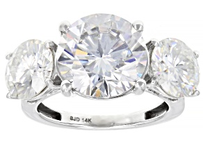 Moissanite and blue sapphire 14K white gold ring 9.17ctw DEW.