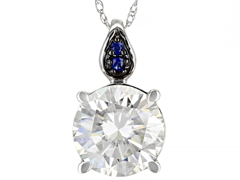 Moissanite and blue sapphire 14K white gold Pendant 2.26ct DEW