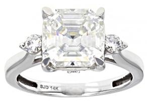 Moissanite 14K white gold ring 4.38ctw DEW.