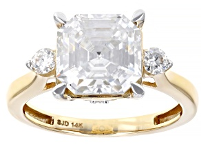 Moissanite 14k Yellow Gold Ring 4.38ctw DEW.