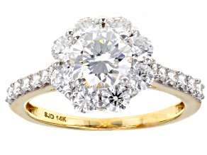 Moissanite 14k Yellow Gold Ring 2.04ctw DEW.