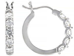 Moissanite 14k White Gold Hoop Earrings 1.00ctw DEW.