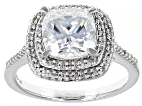 Moissanite And White Diamond 14k White Gold Ring.