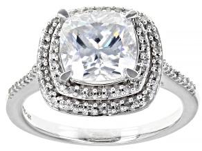 Moissanite And White Diamond 14k White Gold Ring.