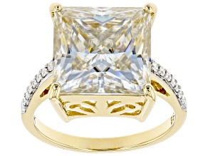 Moissanite 14k Yellow Gold Ring 8.49ctw DEW.