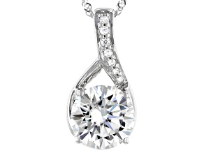 Moissanite Pendant 14k White Gold 2.77ctw DEW.