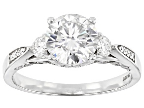 Moissanite 14k White Gold Ring 1.98ctw DEW.