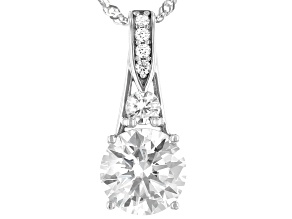 Moissanite 14k White Gold Pendant 1.64ctw DEW.