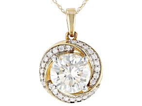 Moissanite Yellow Gold Pendant 2.97ctw DEW.