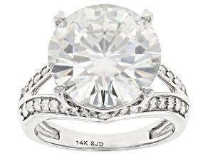 Moissanite 14k White Gold Ring 9.13ctw DEW