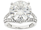 Moissanite 14k White Gold Ring 9.13ctw DEW