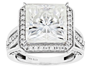 Moissanite 14k White Gold Ring 9.95ctw DEW