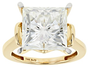 Moissanite 14k Yellow Gold Ring 9.09ct DEW