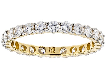 Picture of Moissanite 14k Yellow Gold Eternity Band Ring 1.44ctw DEW