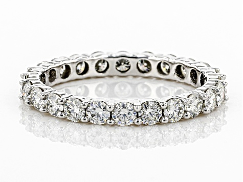 Moissanite 14k White Gold Eternity Band Ring 1.44ctw DEW