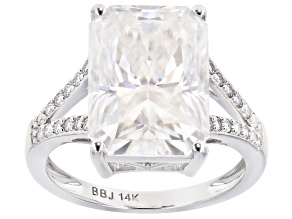 Moissanite 14k White Gold Ring 9.54ctw DEW.