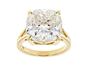 Moissanite 14k Yellow Gold Ring 10.42ctw DEW.