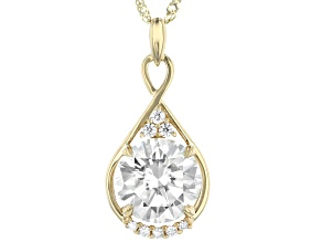 Moissanite 14k Yellow Gold Pendant 2.81ctw DEW.
