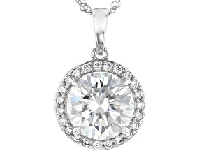 Moissanite 14k White Gold Pendant 2.93ctw DEW.