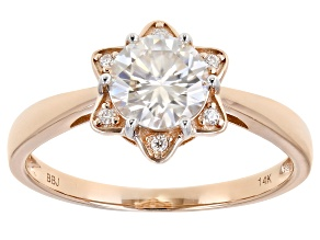 Moissanite 14k Rose Gold Ring 1.06ctw DEW.
