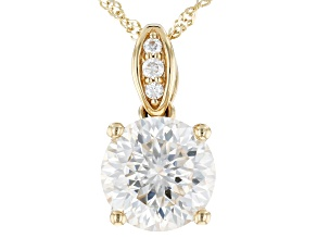 MOISSANITE INFERNO CUT(TM) 14K YELLOW GOLD PENDANT 2.20CTW DEW