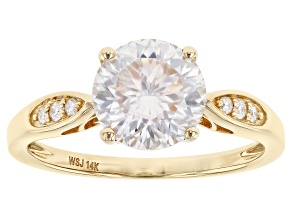 MOISSANITE INFERNO CUT(TM) 14K YELLOW GOLD RING 2.24CTW DEW