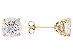 MOISSANITE INFERNO CUT(TM) 14K YELLOW GOLD EARRINGS 4.32CTW DEW