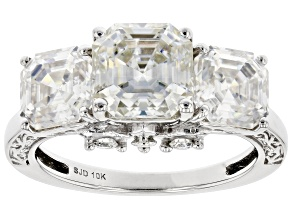 Moissanite 10k White Gold Ring 6.20ctw DEW.