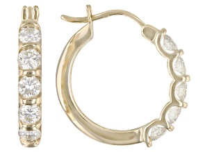 Moissanite 10k Yellow Gold Hoop Earrings 1.00ctw DEW.